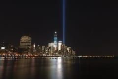 September 11 tribute lights. A shot of the tribute light on September 11, 2012 Stock Image