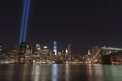 September 11 tribute lights. A shot of the tribute light on September 11, 2012 Royalty Free Stock Images