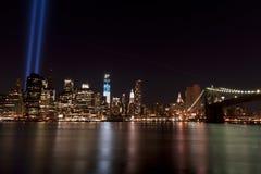 September 11 tribute lights. A shot of the tribute light on September 11, 2012 Royalty Free Stock Images