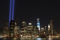 September 11 tribute lights. A shot of the tribute light on September 11, 2012 Stock Image