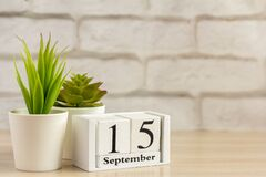Free September 15 On A Wooden Calendar On A Table Or Shelf.One Day Of The Autumn Month.Calendar For September. Autumn. Royalty Free Stock Images - 191697229