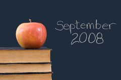 September 2008 geschreven op bord met appel Royalty-vrije Stock Afbeeldingen