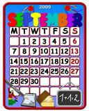 September 2009 Calender. An illustrated calendar for the month of September 2009 with school and education related objects Royalty Free Stock Photography