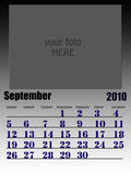 September 2010. Wall calendar with place for your kids image. Week starts on sunday Stock Image