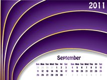 September 2011 wave calendar. September 2011 wave design calendar stock illustration