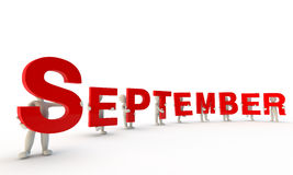 September. 3D humans forming red word September made from 3d rendered letters isolated on white Stock Photography