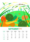 September. Vector calendar 2013. September. Animals design Stock Photography