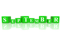 September in 3d cubes. 3d green cubes with letters makes september Stock Image