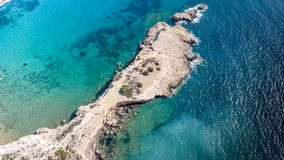 September 2017: Aerial View of Fourni Beach, Rodos island, Aegean, Greece Royalty Free Stock Photography
