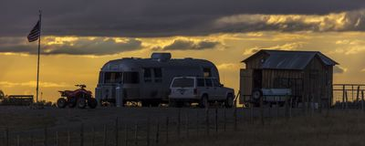 Airstream at sunset on Hastings Mesa, Colorado. SEPTEMBER 28, 2017 - Airstream at sunset on Hastings Mesa, Colorado royalty free stock image