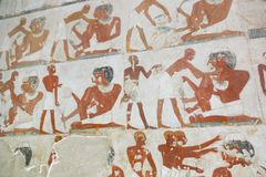 1500 years BC Ancient Egyptian Graves. 23 September 2017 Ancient colorful painting on wall inside Egyptian Nobles Graves that painted before 1500 years BC royalty free stock image