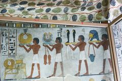 1500 years BC Ancient painting on wall at Egyptian Graves. 23 September 2017 Ancient colorful painting on wall inside Egyptian Nobles Graves that painted before royalty free stock photography