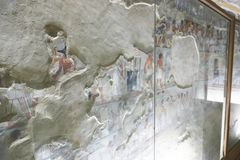 1500 years BC Ancient Egyptian Graves. 23 September 2017 Ancient colorful painting on wall inside Egyptian Nobles Graves that painted before 1500 years BC stock photography