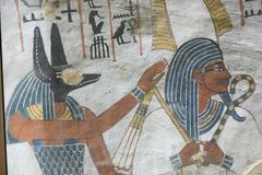 1500 years BC Ancient Egyptian Graves. 23 September 2017 Ancient colorful painting on wall inside Egyptian Nobles Graves that painted before 1500 years BC royalty free stock images