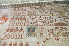 Ancient painting on wall at Egyptian Graves Royalty Free Stock Image