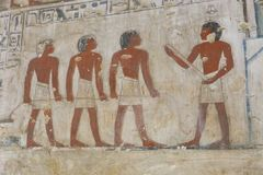 Ancient painting on wall at Egyptian Graves. 23 September 2017 Ancient colorful painting on wall inside Egyptian Nobles Graves that painted before 1500 years BC Stock Images