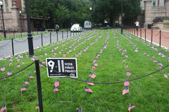 September 11 Anniversary. American flags at Columbia University, in commemoration of the 13th anniversary of the September 11 terrorist attacks Stock Photography