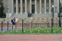 September 11 Anniversary. American flags at Columbia University, in commemoration of the 13th anniversary of the September 11 terrorist attacks Stock Images