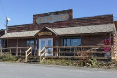 Old historic house of the Gold Rush in Atlin British Columbia Canada. stock images