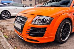 September 30, 2016, Kiev, Ukraine. Audi TT in orange mate in the city. September 30, 2016. Audi TT in orange mate in the city stock image
