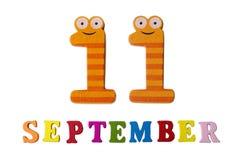 11. September auf einem weißen Hintergrund, den Buchstaben und den Zahlen Lizenzfreies Stockfoto