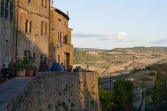 September-avond op Punto Panoramico van middeleeuwse Pienza Italië Stock Foto