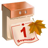 September 1 began fall. Tear-off calendar and yellow maple leaf. On white vector illustration Royalty Free Stock Photo