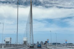 Highway of Bridge over Ada, Belgrade, Serbia. SEPTEMBER 2016, BELGRADE SERBIA: Closeup of Belgrade`s newest bridge, Bridge over Ada - serbian: Most na Adi - and stock image