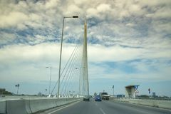 Highway of Bridge over Ada, Belgrade, Serbia. SEPTEMBER 2016, BELGRADE SERBIA: Closeup of Belgrade`s newest bridge, Bridge over Ada - serbian: Most na Adi - and royalty free stock images