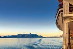 14 september, 2018 - binnen Passage, AK: Zonsopgang op het Volendam-cruiseschip stock foto's