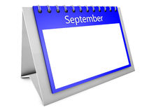 September blank calendar. 3d September blank calendar isolated on white Royalty Free Stock Photos