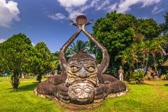 26 september, 2014: Boeddhistische steenstandbeelden in het Park van Boedha, Laos Stock Foto's