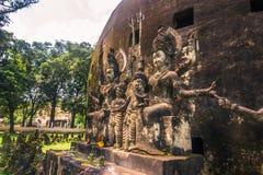 26. September 2014: Buddhistische Steinstatuen in Buddha parken, Laos Lizenzfreies Stockfoto