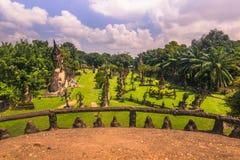 26. September 2014: Buddhistische Steinstatuen in Buddha parken, Laos Lizenzfreie Stockfotografie
