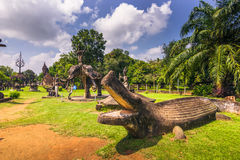26. September 2014: Buddhistische Steinstatuen in Buddha parken, Laos Stockbild