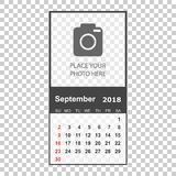 September 2018 calendar. Calendar planner design template with p. Lace for photo. Week starts on sunday. Business vector illustration Stock Photography
