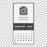 September 2018 calendar. Calendar planner design template with p Stock Photography