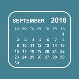 September 2018 calendar. Calendar planner design template. Week. Starts on Sunday. Business vector illustration Stock Photos