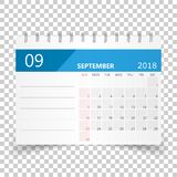 September 2018 calendar. Calendar planner design template. Week. Starts on Sunday. Business vector illustration Royalty Free Stock Photos