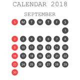 September 2018 calendar. Calendar planner design template. Week. Starts on Sunday. Business vector illustration Stock Photo