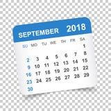 September 2018 calendar. Calendar sticker design template. Week Stock Images