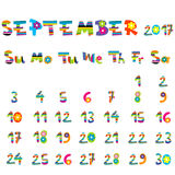 September 2017 calendar. Cute September 2017 calendar for kids Stock Images