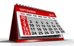 September 2018 calendar Royalty Free Stock Photography