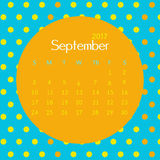 2017 September calendar design with geometric background | colorful modern business Stock Photography