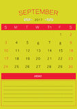 2017 September calendar design simple | colorful modern business Royalty Free Stock Photography