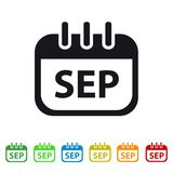 September Calendar Icon -  Colorful Vector symbol. Isolated On White Background Royalty Free Stock Photo