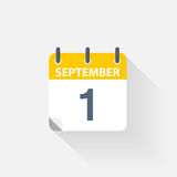 1 september calendar icon. On grey background Royalty Free Stock Photography