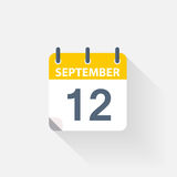 12 september calendar icon. On grey background Royalty Free Stock Images