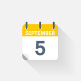 5 september calendar icon. On grey background Stock Photography