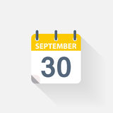 30 september calendar icon. On grey background Stock Image